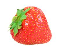 single fresh red strawberry - stock photo