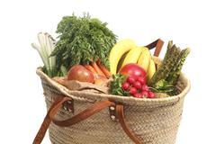 Groceries in bag Stock Photos