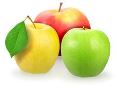 Stock Photo of three fresh motley apple