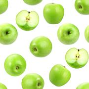 Seamless pattern with green fresh apples. Stock Photos