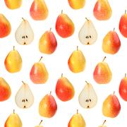 Seamless background with orange fresh pears Stock Photos