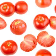 seamless pattern with red fresh tomatos - stock photo