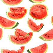 background with red slices of watermelon - stock photo