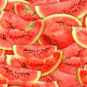 seamless pattern of red watermelons slices - stock photo