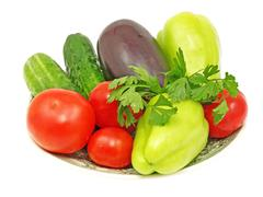 Stock Photo of plate with fresh vegetables.