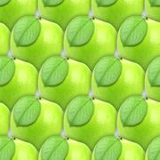 Seamless pattern of green apples with leaf Stock Photos