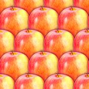 Seamless pattern of fresh red-yellow apples Stock Photos