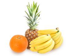 Heap of fresh tropical fruits Stock Photos