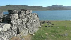 Greenland Hvalsey Nordic ruin view Stock Footage