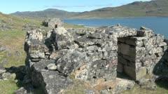 Greenland Hvalsey Nordic ruin 2 Stock Footage