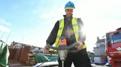 Bricklayer on construction site Stock Footage