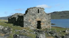 Greenland Hvalso Nordic church ruin 04 Stock Footage