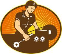 female machinist worker lathe machine. - stock illustration