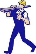 Carpenter tradesman carrying timber lumber. Stock Illustration