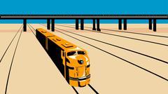 Diesel train high angle retro. Stock Illustration