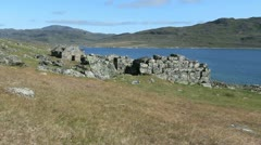 Greenland Hvalso Nordic church ruin c09 Stock Footage