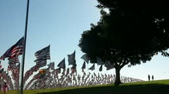HUNDREDS OF AMERICAN FLAGS LITTLE GIRL Stock Footage