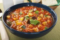 mediterranean vegetable soup ratatouille - stock photo