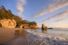 coromandel cathdral cove early morning light - stock photo