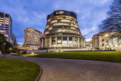 wellington the beehive parliament buildings new zealand - stock photo