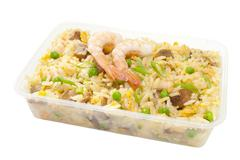 Takeaway chinese food special fried rice plastic fastfood container Stock Photos