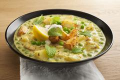 paneer and peas indian curry - stock photo