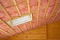 fiberglass roof insulation - stock photo