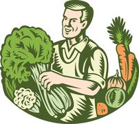 Stock Illustration of organic farmer green grocer with vegetables retro