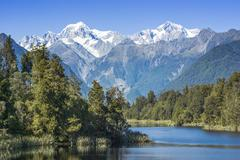 New zealand lake matheson and mount cook Stock Photos