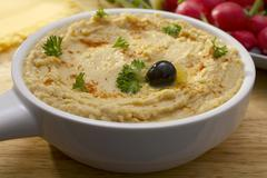 middles eastern hummus or chickpea dip - stock photo