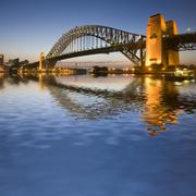 sydney harbour bridge at twilight - stock photo