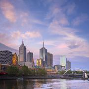 melbourne skyline twilight square - stock photo