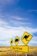 Nullarbor plain, iconic sign and big sky Stock Photos