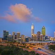 perth skyline at twilight western australia square - stock photo