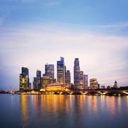 singapore city skyline at twilight sqaure - stock photo