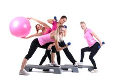 Group of fitness instructors with accesories Stock Photos