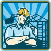 Construction engineer foreman worker Stock Illustration