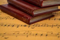 music sheet and old books - stock photo