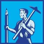 Architect with pencil and t-square Stock Illustration