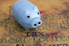 Stock Photo of tax and piggy bank concept
