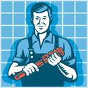 Plumber worker with monkey wrench retro Stock Illustration