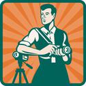 Photographer with dslr camera and video retro Stock Illustration