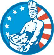 American chef baker cook with basket loaf bread Stock Illustration