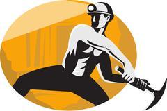coal miner with pick ax striking retro - stock illustration