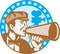 movie film director with bullhorn and camera retro - stock illustration