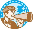 Movie film director with bullhorn and camera retro Stock Illustration