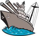 Warship battleship boat with big guns Stock Illustration