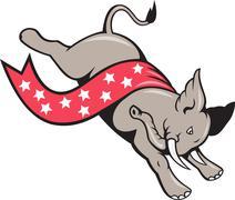 Elephant jumping democrat mascot Stock Illustration