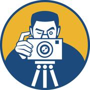 Photographer with camera retro Stock Illustration
