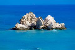 rocks of aphrodite, paphos, cyprus - stock photo